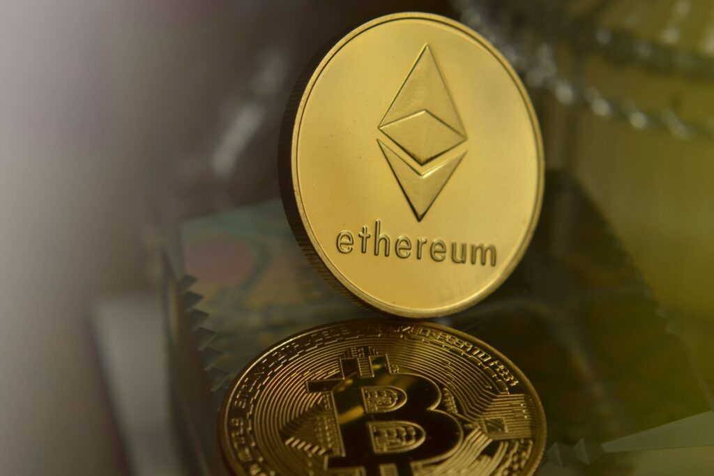 Ethereum gold coin with Bitcoin gold coin